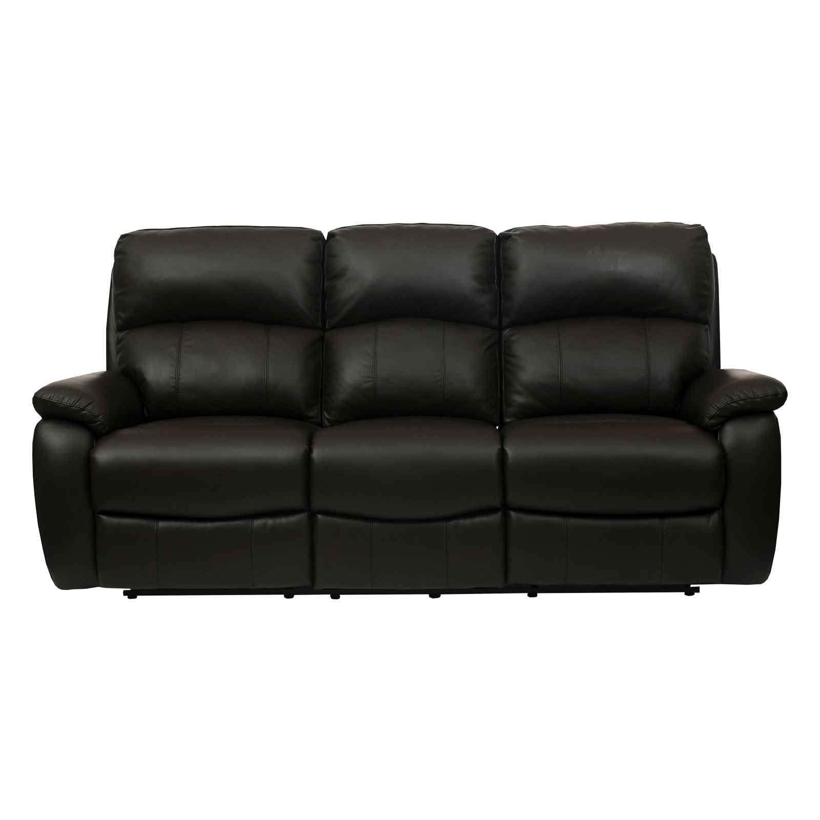 Brown Full Leather Recliner Sofa Set