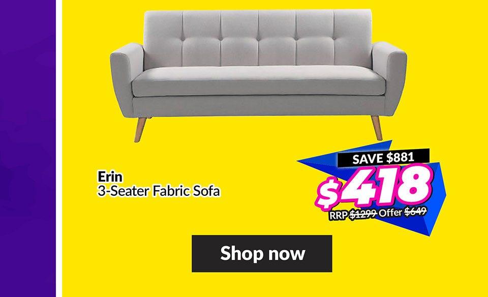 ERIN 3 SEATER FABRIC SOFA