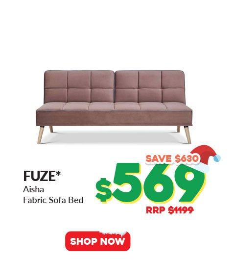 FUZE* AISHA SOFA BED KHAKI FABRIC SOFA BED