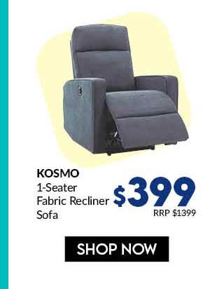 KOSMO1R SEATER (FAB) DK GREY FABRIC RECLINER SOFA