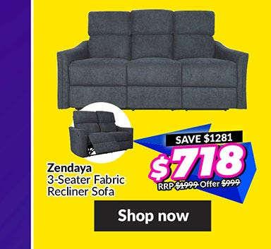 ZENDAYA3-SEATER FABRIC RECLINER SOFA